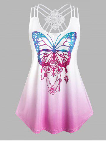 Plus Size Strappy Butterfly Print High Low Tank Top - WHITE - 5X