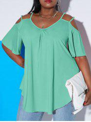 Plus Size Cold Shoulder Double Strap Cutout Tee -
