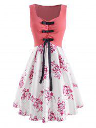 Flower Print Ruched Bowknot Dress -
