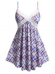 Plus Size Geometric Plaid Skirted Guipure Lace Cami Top -