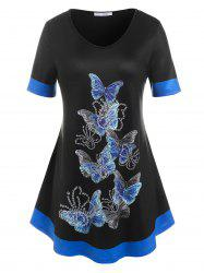 Plus Size Colorblock Butterfly Print Tee -