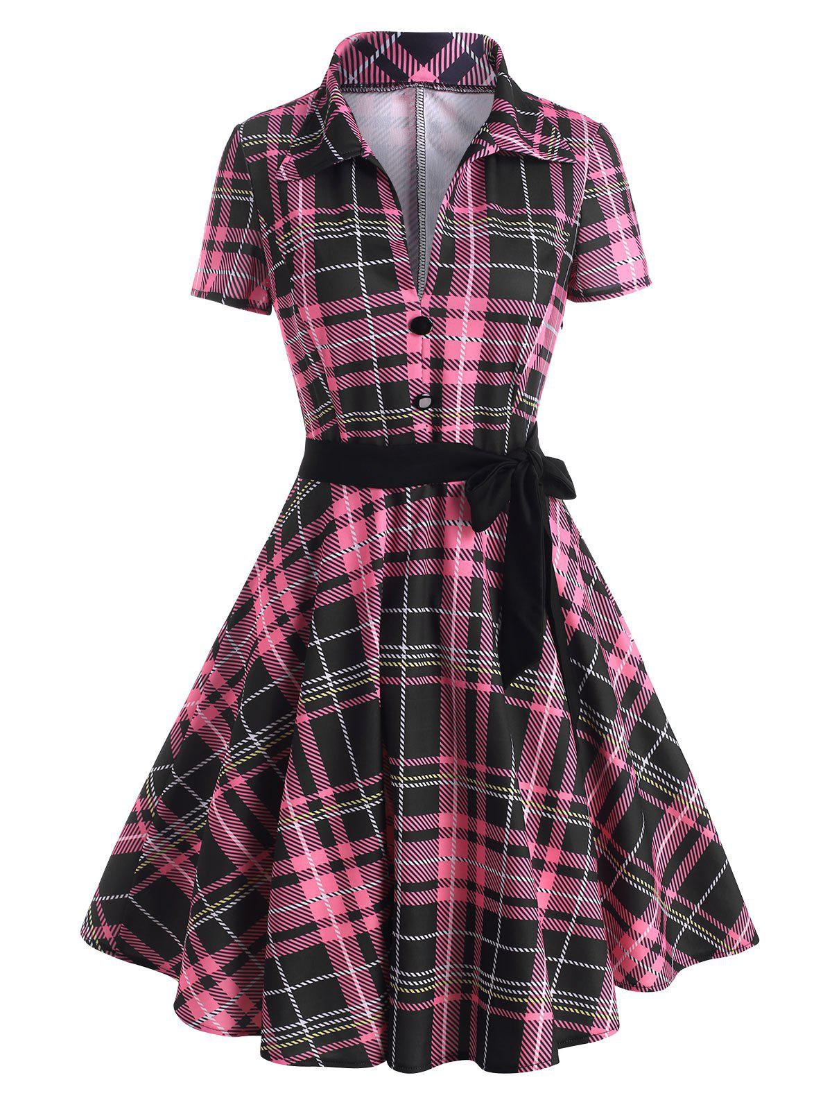 Store Plunge Plaid Mock Button Belted Dress