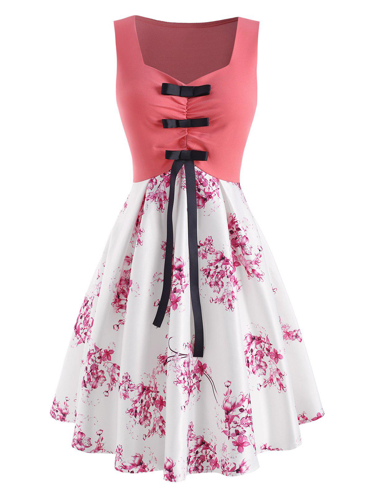 Chic Flower Print Ruched Bowknot Dress