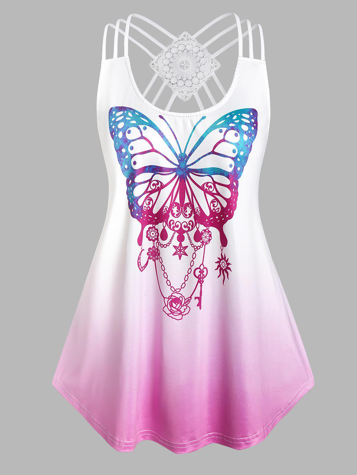 Shops Plus Size Strappy Butterfly Print High Low Tank Top