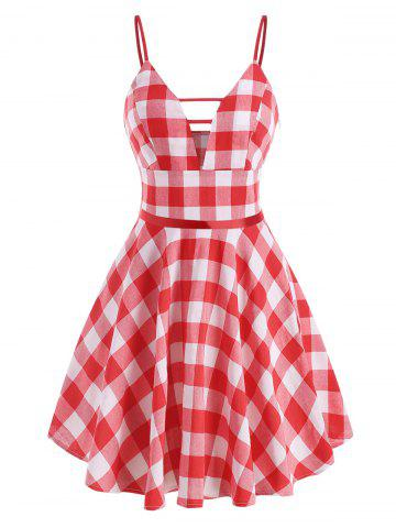 Gingham Ladder Cut Cami Dress