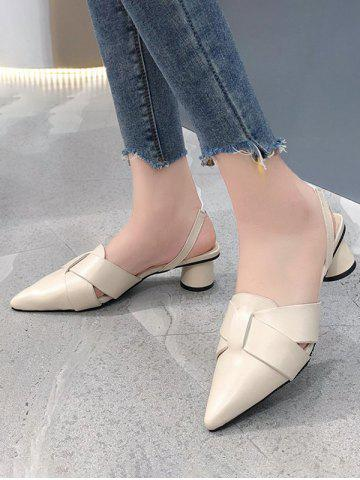 Cross Pointed Toe Block Heel Sandals