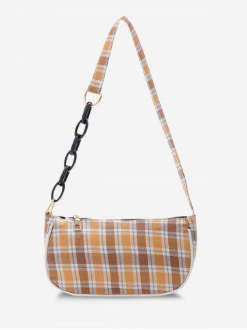 French Style Plaid Half Chain Shoulder Bag - YELLOW