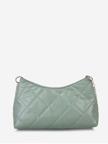 Solid Quilted Chain Crossbody Bag - AVOCADO GREEN
