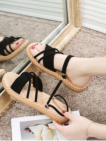 Criss Cross Strappy Woven Flat Slides Sandals