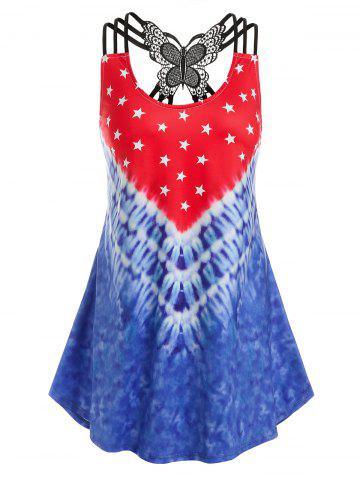 Plus Size Strappy Butterfly Lace Printed Tank Top