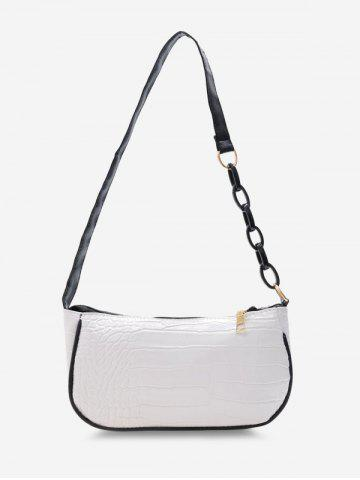 Embossed Half Chain Shoulder Bag