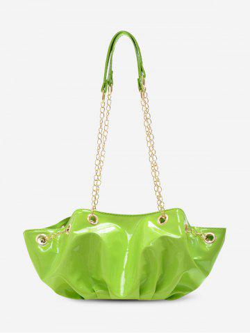 Pleated Chain Patent Leather Shoulder Bag
