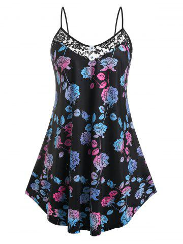 Plus Size Flower Lace Sheer Panel Skirted Cami Top