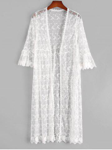 Leaves Floral Sheer Mesh Open Front Beach Cover Up - WHITE - ONE SIZE