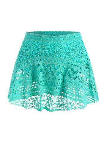 Skirted Guipure Lace Swim Bottom - GREEN - 2XL