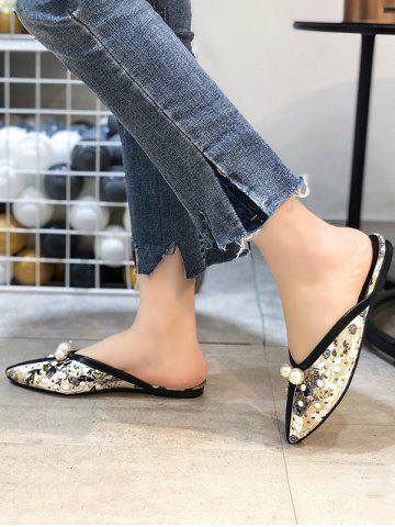 Ethnic Faux Pearl Studded Lace Slippers