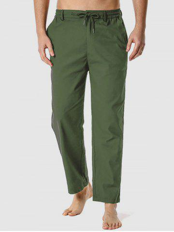 Drawstring Casual Straight Leg Pants - ARMY GREEN - XXXL