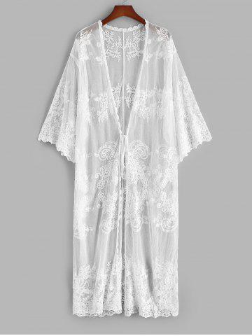 Plant Sheer Mesh Tie Waist Beach Cover Up - WHITE - ONE SIZE