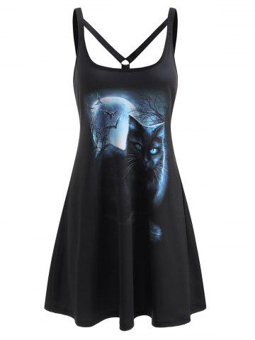 Cat Moon Print Strappy O Ring Tank Dress