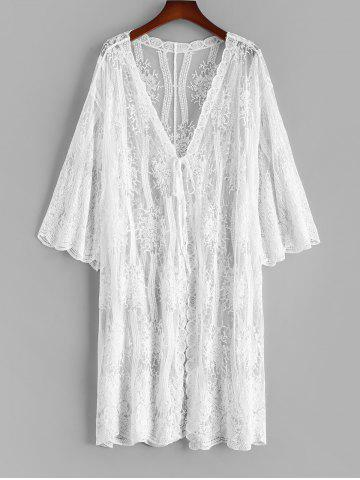 Sheer Lace Tie Front Scalloped Beach Cover Up - WHITE - ONE SIZE