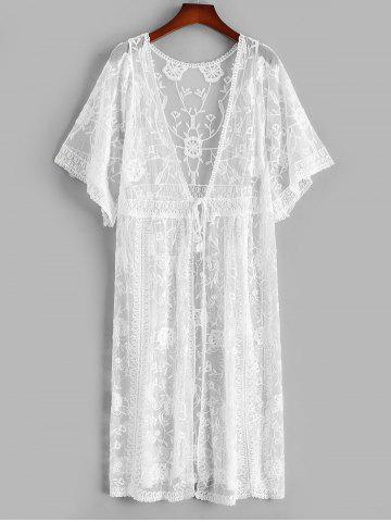 Sheer Lace Tie Waist Kimono Cover Up - WHITE - ONE SIZE