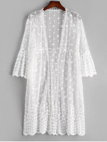 Sheer Mesh Floral Flare Sleeve Beach Cover Up - WHITE - ONE SIZE