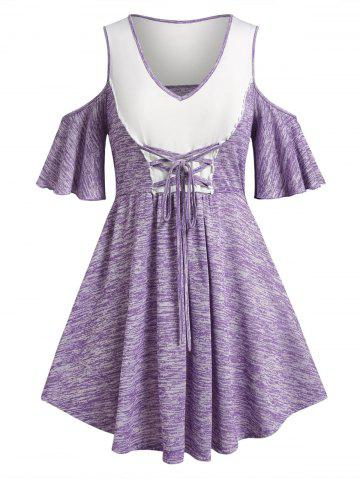 Plus Size Lace-up Space Dye Cold Shoulder Skirted Tee - LIGHT PURPLE - 3X