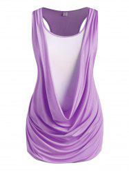 Plus Size Draped Ruched Twofer Racerback Tunic Tank Top -