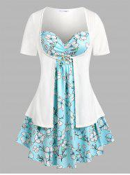 Plus Size Floral Print 2 in 1 Tee -