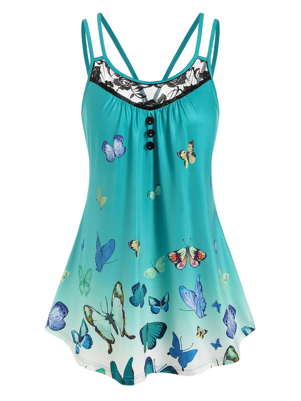 Store Lace Panel Butterfly Print Tank Top