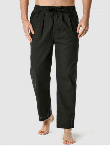 Straight Leg Drawstring Casual Pants - BLACK - XXXL