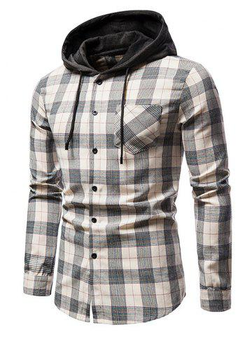 Plaid Print Long Sleeve Hooded Pocket Shirt - APRICOT - XL