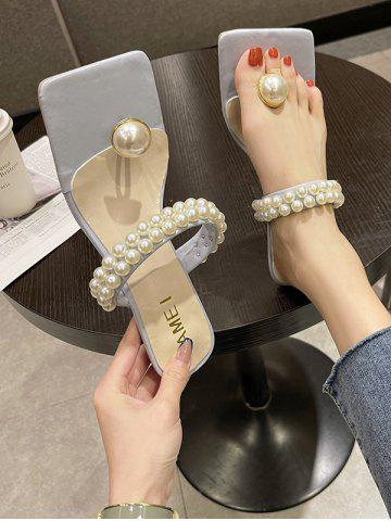 Faux Pearl Square Toe Kitten Heel Sandals