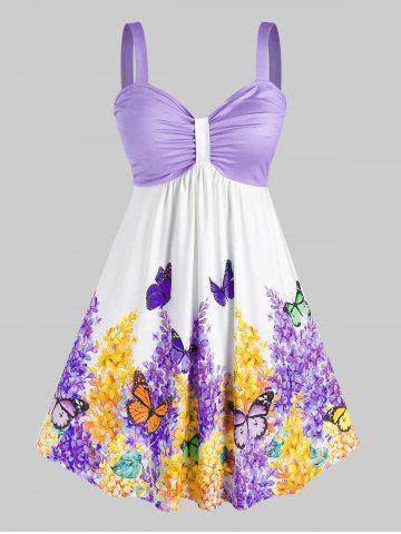 Plus Size Ruched Floral Butterfly Print Knee Length Dress - LIGHT PURPLE - 2X