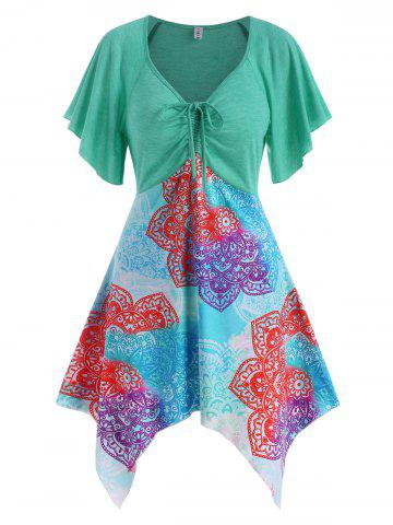 Cinched Ruched Printed Asymmetrical Hem Top