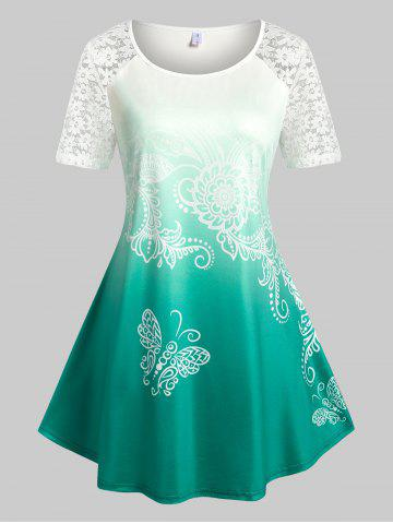 Plus Size Ombre Color Lace Panel Butterfly Print Tee