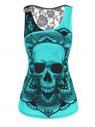 Lace Panel O Ring Skull Print Tank Top -