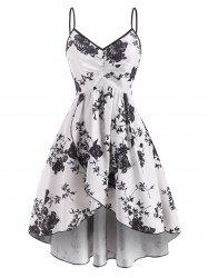 Ruched Flower Print Tulip Dress -