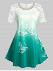 Plus Size Ombre Color Lace Panel Butterfly Print Tee -