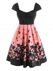 Twisted Butterfly Print High Waisted Dress -