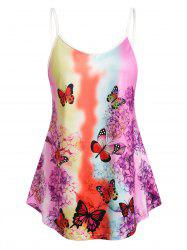 Plus Size Butterfly Floral Print Tent Tank Top -