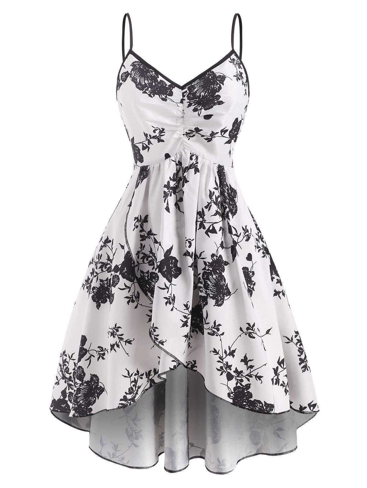 Outfit Ruched Flower Print Tulip Dress