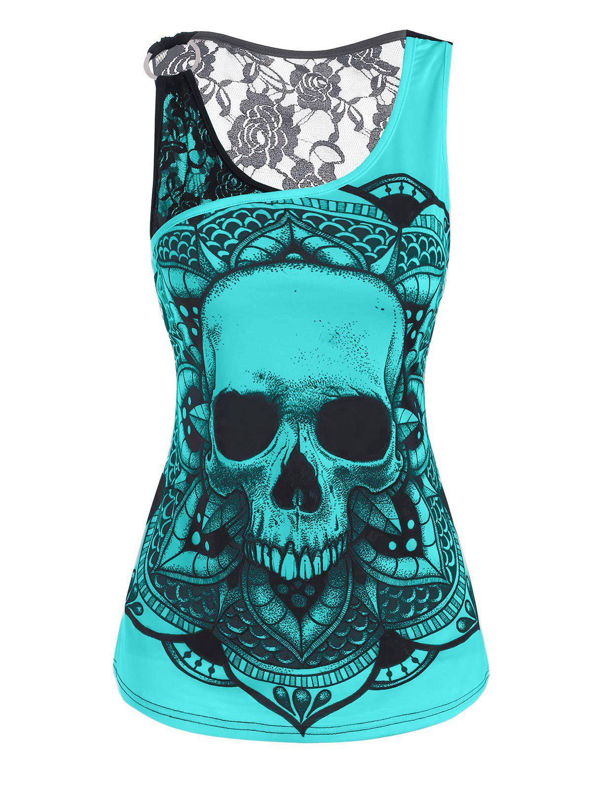 Sale Lace Panel O Ring Skull Print Tank Top