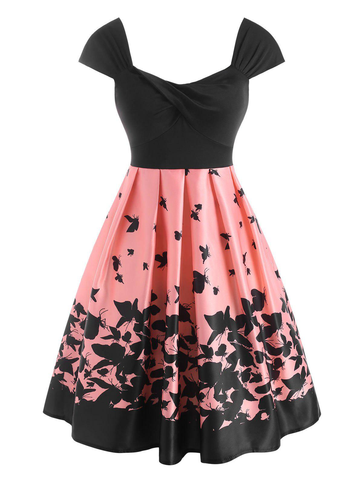 Best Twisted Butterfly Print High Waisted Dress