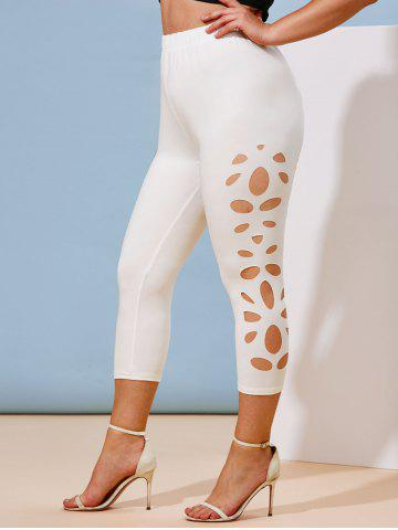 Plus Size Laser Cut Capri Leggings - WHITE - 3X
