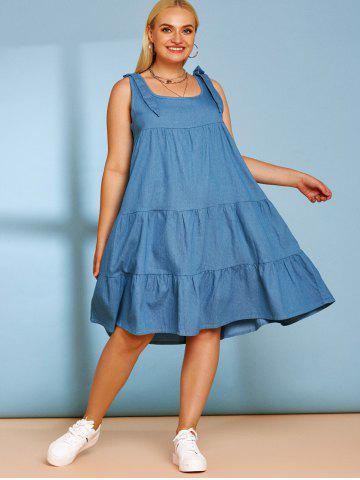 Tiered Bowknot Plus Size Casual Chambray Dress