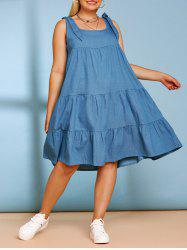 Tiered Bowknot Plus Size Casual Chambray Dress -