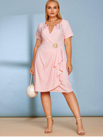 Plus Size Plunge Chains Draped Knee Length Dress