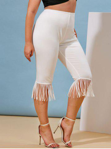 Plus Size Fringed High Waisted Cropped Leggings - WHITE - 3X