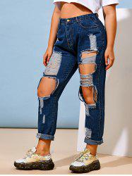 Destroyed Distressed Plus Size Tapered Jeans -